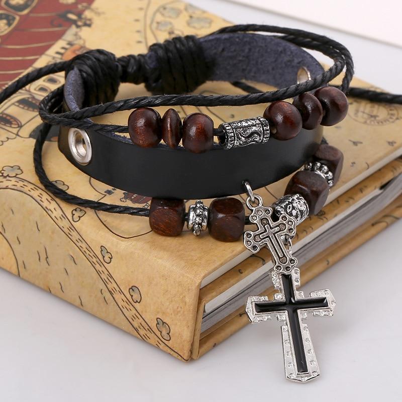 Cross Bracelets Vintage Punk Wind Beaded Leather Bracelet Women Men Jewelry Braid Charm Bracelets
