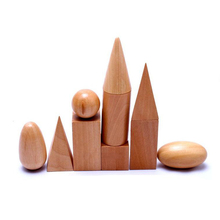 Купить с кэшбэком 1pcs Funny Block Math Toys Montessori Geometric Assembling Blocks To Children Learning Education Wooden Baby Toys Birthday Gifts
