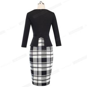 Image 4 - נחמד לנצח בציר אלגנטי הדפסת טלאי עבודת פורמליות vestidos עסקים Bodycon משרד מסיבת נשים Bodycon שמלת B500