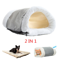 Winter Warm Puppy Sleeping Nest Mats 2 in 1 Pet Bed House for Small Dogs Mat Cat Tunnel Soft Zipper Dog Cushion Pad Products