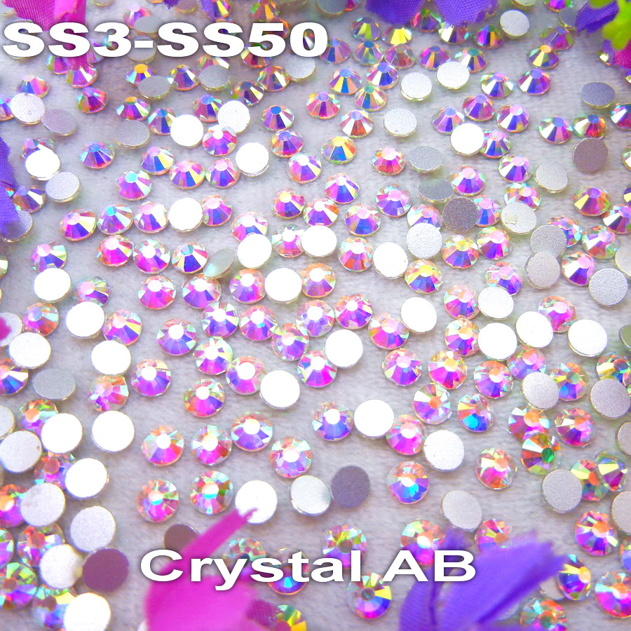 Non hotfix SS3-SS50 13 sizes Crystal AB color Glue on Flat Back Glass Rhinestones for Nail Art handicrafts Diy decoration