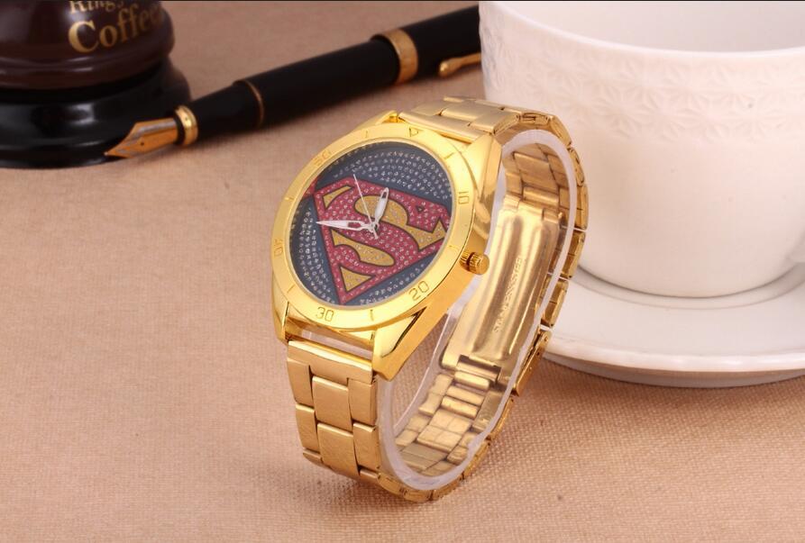 New Hot Superman Pattern Atmos Clock Men's Watches Gold Quartz Watch Fashion Sport Wristwatches Montre Homme Luxury