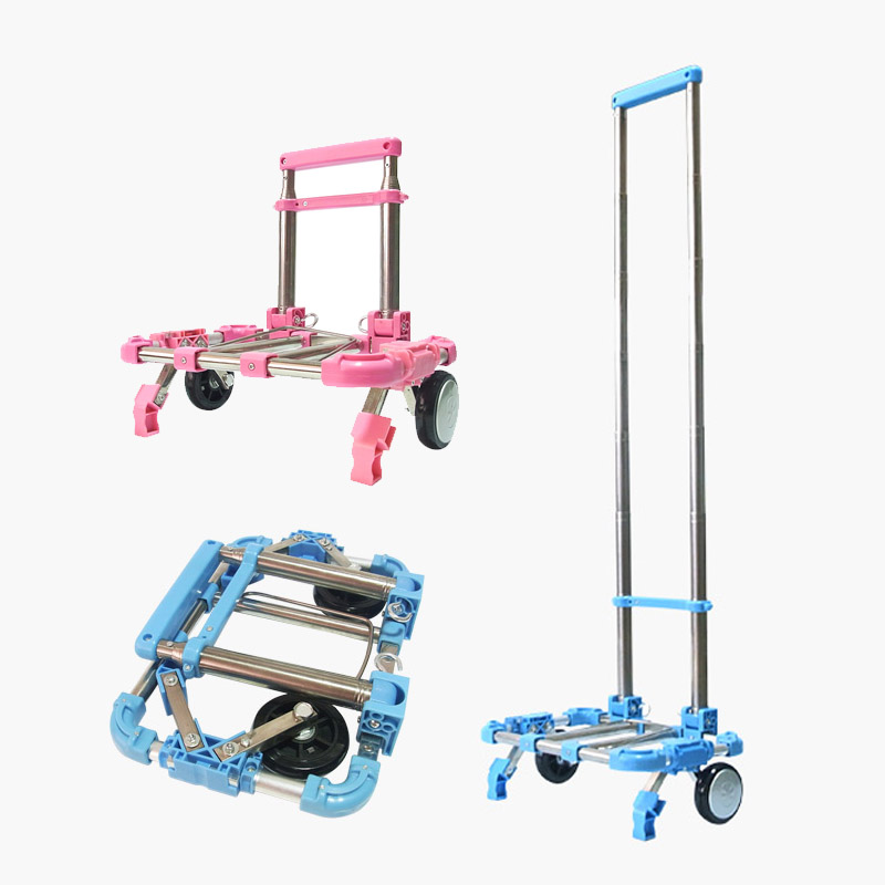 Fully Fold Stainless Steel Travel Shopping Cart Portable Kids Schoolbag Luggage Mini Trolley Cart Small Trailer Bag foldable small pull cart household portable fold shopping cart mini travel luggage trolley cart