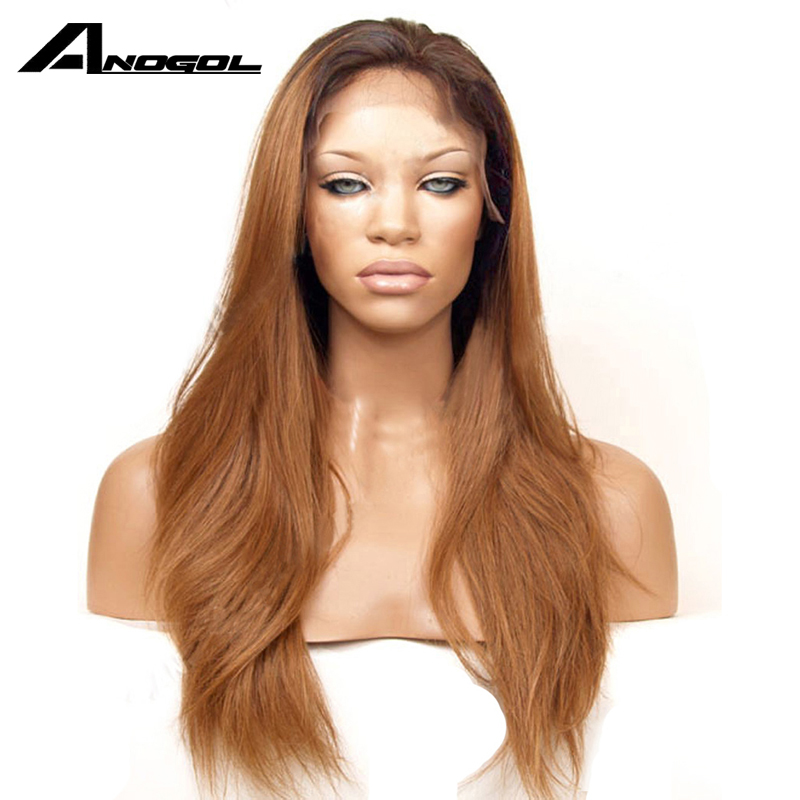 Anogol Long Straight Dark Roots Ombre Brown Synthetic Lace Front Wig Glueless Heat Resistant Fiber Hair Wigs For Women
