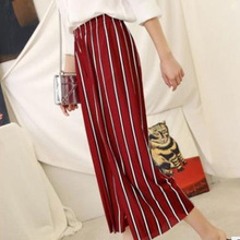 2019 women Summer New Striped Style high waist Harem Fashion pants drawstring sweet elastic pockets casual trousers femme
