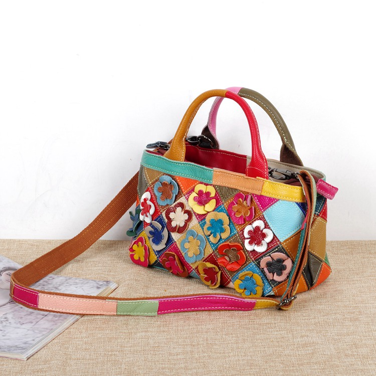 2018 new arrive genuine leather patchwork flowers fashion floral design women cute tote bags cross body bag for lady genuine leather women s shoulder bag fashion patchwork plaid women cross body bags colorful tote lady messenger bag