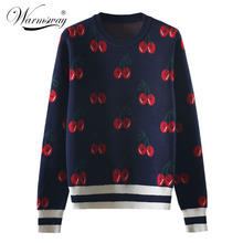 New Fashion Women Autumn And Winter Cute Cherry Jacquard Sweater Pullovers Ladies Chic Long Sleeve Jumper Knitting Top C-426