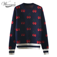 New Fashion Women Autumn And Winter Cute Cherry Jacquard Sweater Pullovers Ladies Chic Long Sleeve Jumper Knitting Top C 426