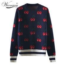 Nova moda feminina outono e inverno bonito cereja jacquard camisola pullovers senhoras chique manga longa jumper tricô topo C 426