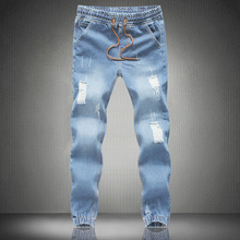 Mens Skinny jeans men 2015 Runway Distressed slim elastic jeans denim Biker jeans hiphop pants Large size jeans for men blue