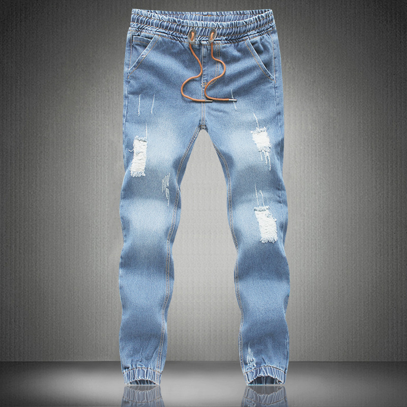Mens Skinny jeans men 2017 Runway Distressed slim elastic jeans denim Biker jeans hiphop pants Large
