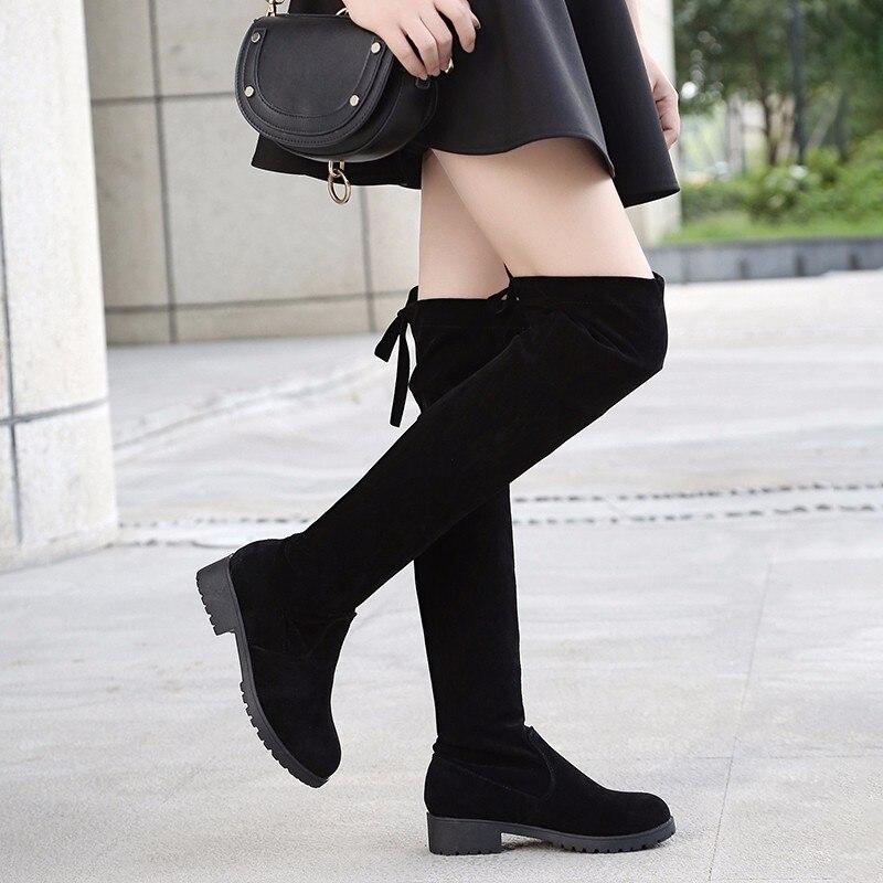759053146c2d5 Tuyau 2019 Sur Taille Femelle Poêle Le Chaussures black Noir D hiver Petite  Thin Thick Sexy Genou Black De Talons Bottes Hoof Haute Court Femmes  PrP5qCwxg