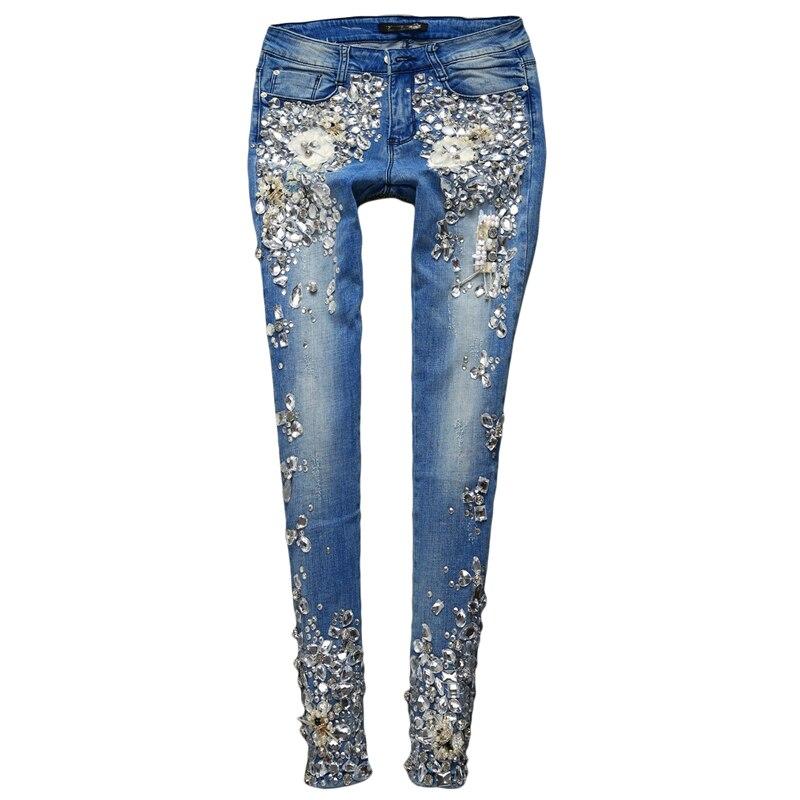 Luxe diamant poche Jeans fleurs pantalon femme 3D Stretch crayon Denim femmes pantalon