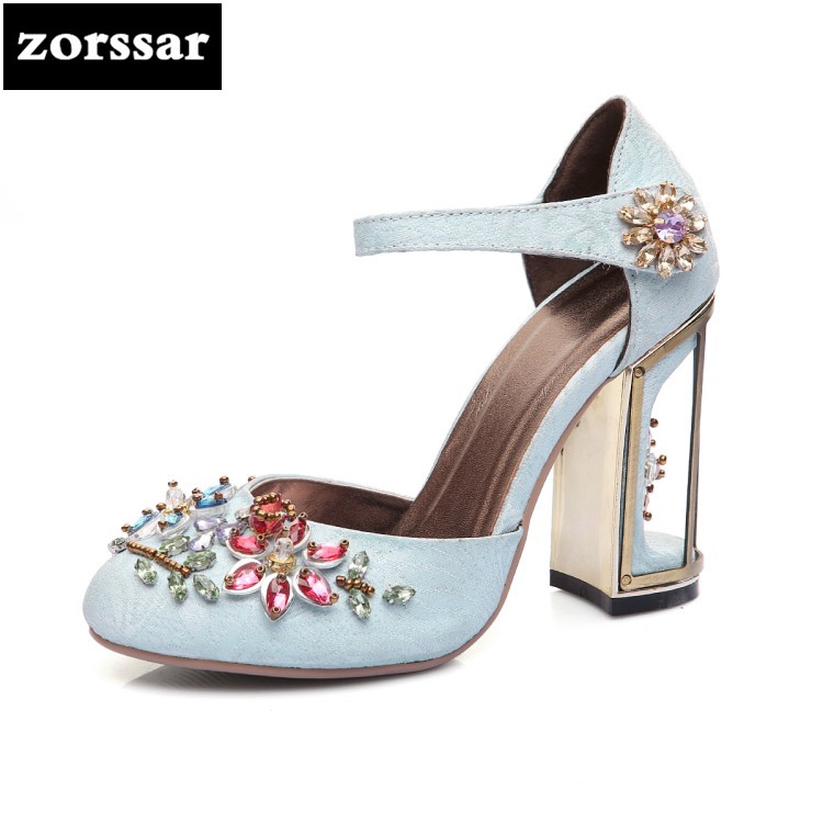 {Zorssar} Big Size 33-43 Ankle Strap heels sandals summer shoes Women Pumps Fashion crystal Woman High Heels Party wedding shoes цена