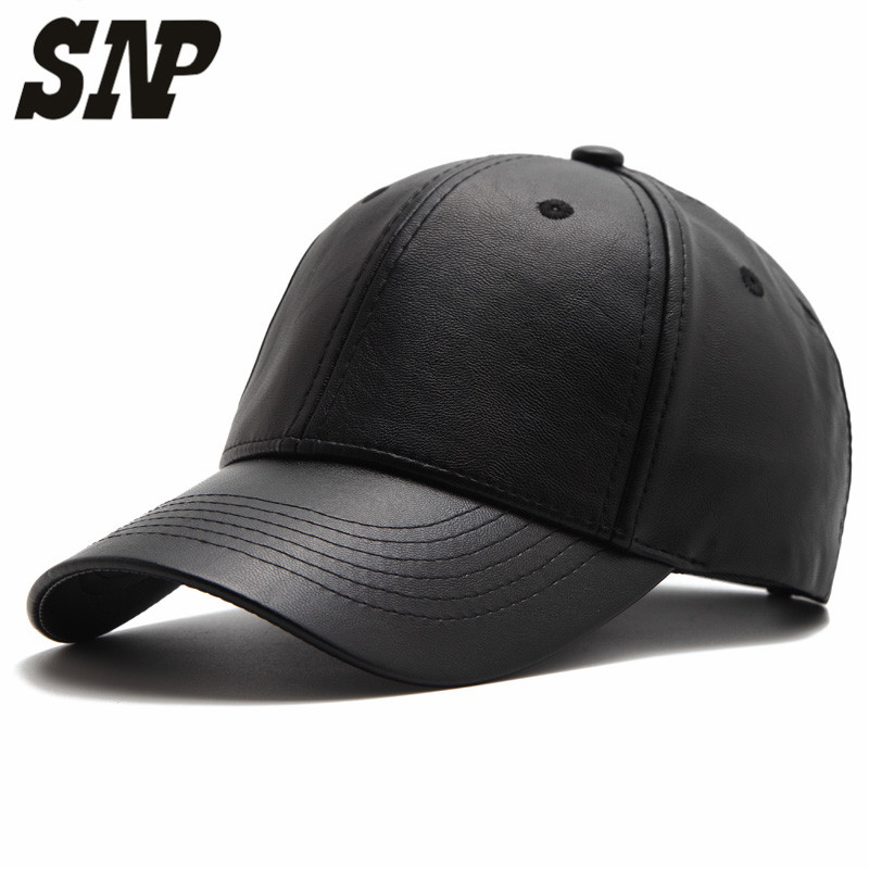 NEW SNP PU solid black Leather Women's cap adult Baseball Cas
