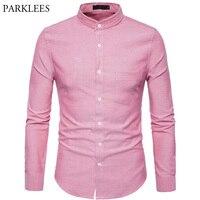 Men's Mandarin Collar Oxford Dress Shirt 2018 Autumn New Slim Fit Long Sleeve Shirt Men Business Casual Brand Shirt with Pockets