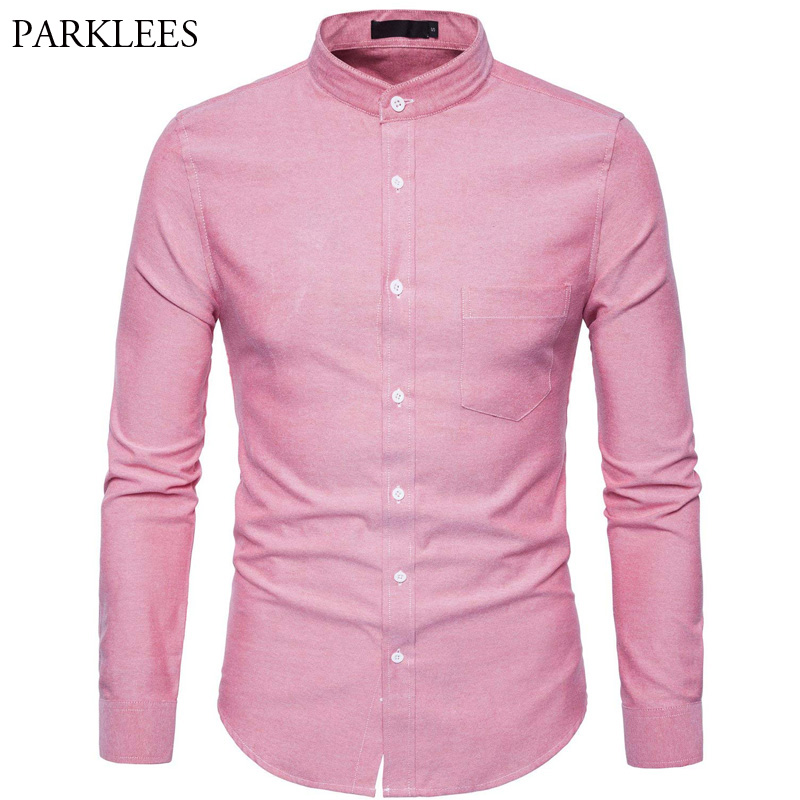 Men's Mandarin Collar Oxford Dress Shirt 2018 Autumn New Slim Fit Long Sleeve Shirt Men Business Casual Brand Shirt With Pockets