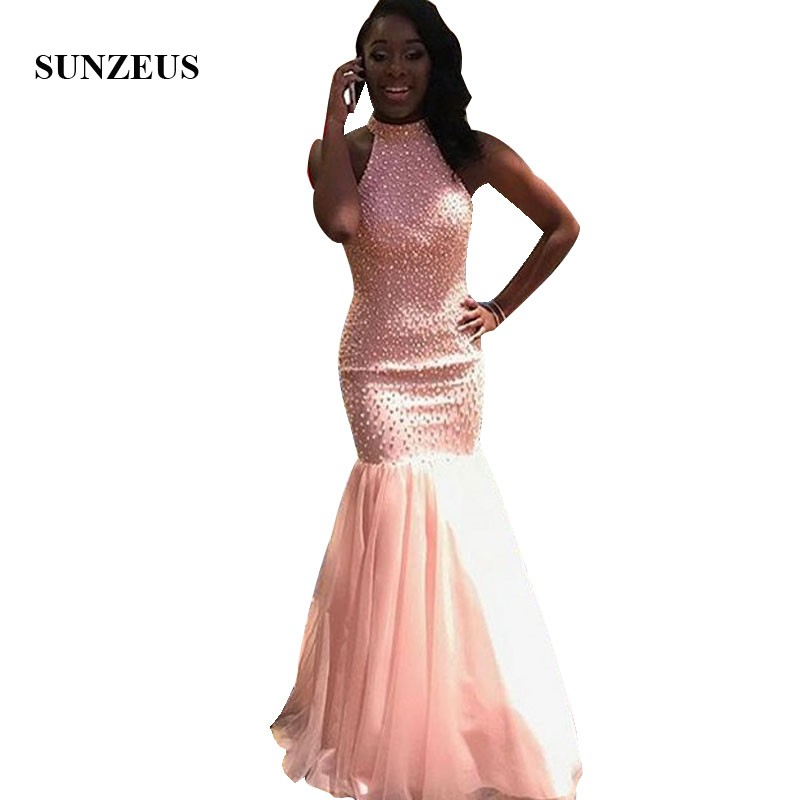 Pink   Prom     Dresses   2019 Heavy Pearls Beaded Party Gowns Mermaid Long Formal Wear High Neck Robe Longue