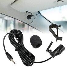 Microfone de áudio 3.5mm para carro, com prendedor, mini microfone estéreo e fio, microfone externo para automóveis, rádio dvd, 3m profissionais longos
