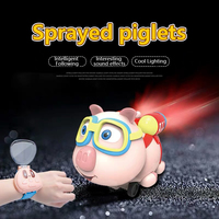 Pig Small Eight Children Watch Remote Control Car Smart Toy Cartoon 2.4G Remote Control Infrared Follow Spray Function Toy Car