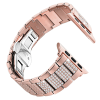 For Apple Watch Band 38mm 42mm Metal Replacement Wristband Sport Strap for Apple Watch Series 1 2 3 Bracelet Rhinestone Diamond