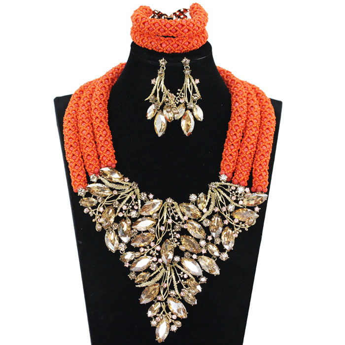New Luxury Nigerian Wedding Coral Beads Jewelry Sets Crystal Rhinestone Bib Necklace Earrings Set for Women Free Shipping ABH516New Luxury Nigerian Wedding Coral Beads Jewelry Sets Crystal Rhinestone Bib Necklace Earrings Set for Women Free Shipping ABH516