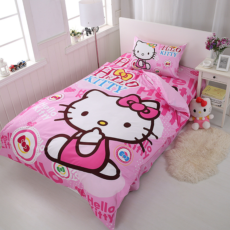 100% Cotton Bedding Set cartoon pink Kitty princess 3pc quilt pillowcase bed sheet childrens room student dormitory family100% Cotton Bedding Set cartoon pink Kitty princess 3pc quilt pillowcase bed sheet childrens room student dormitory family