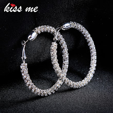 KISS ME Earrings Korean Fashion Oversize Big Circle Crystal Hoop Earrings for Women Brincos Fashion Jewelry Accessories(China)