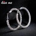 Kissme серьги в Корейском стиле большого размера с рисунком из больших кругов для блестящие хрустальные серьги-кольца для женщин Brincos, можно но...
