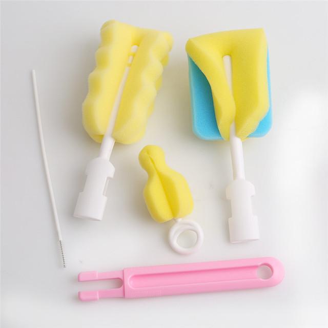 4 pçs/set Esponja Leite Tubo De Plástico Bico de Água Do Bebê Recém-nascido Garrafa Pincel de Esponja Escova de Limpeza Cleaner Escova com Escova Chupeta BZ881662