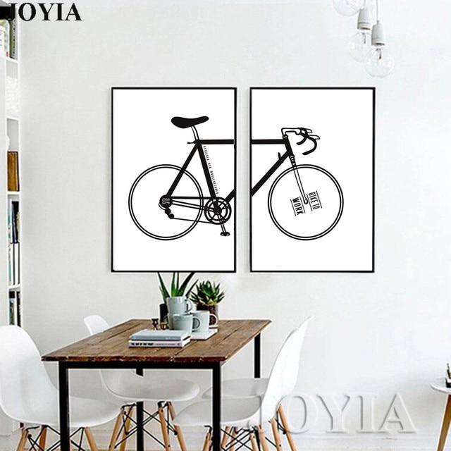 Minimalis Hiasan Dinding Gambar Sepeda Kanvas Cetak Poster 2 Piece Putih Dan Hitam Art Rumah