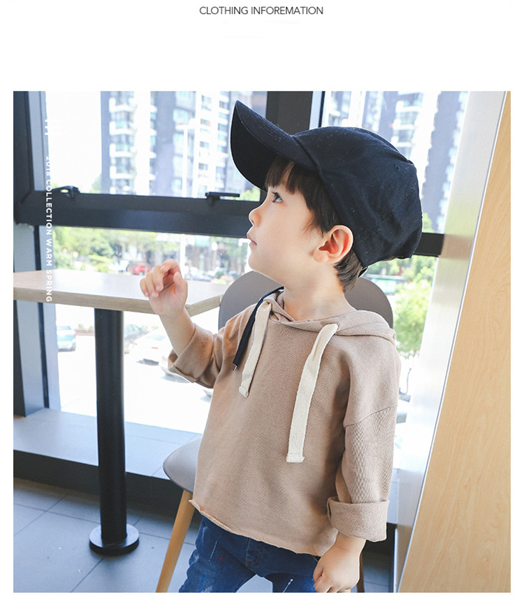 Autumn Childrens Sweatshirt for girls Hoody Coat Pullover T-shirts for boys Casual Hooded Hoodies Sweatshirt Solid Color tshirt