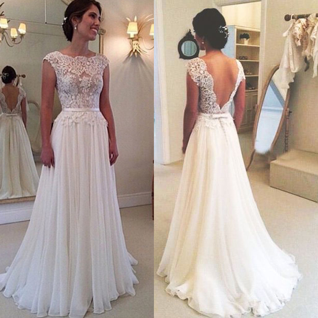 vintage beach wedding dress lace summer cheap backless bride dresses chiffon see through cap sleeve sweep