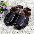 7 Colores Nuevo Otoño Invierno del Cuero Genuino de Zapatillas de Casa de Interior \ Zapatillas de Piso Cálido de Felpa de Algodón Zapatos Planos Del Pie
