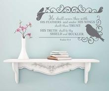 시편 91: 4 성경 구절 스페인어 비닐 벽 스티커 기독교 거실 침실 벽 스티커 장식 벽지 2sj2