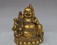 11 Chinese Buddhism Brass Wealth 5 Boy Play Happy Laugh Maitreya Buddha Statue