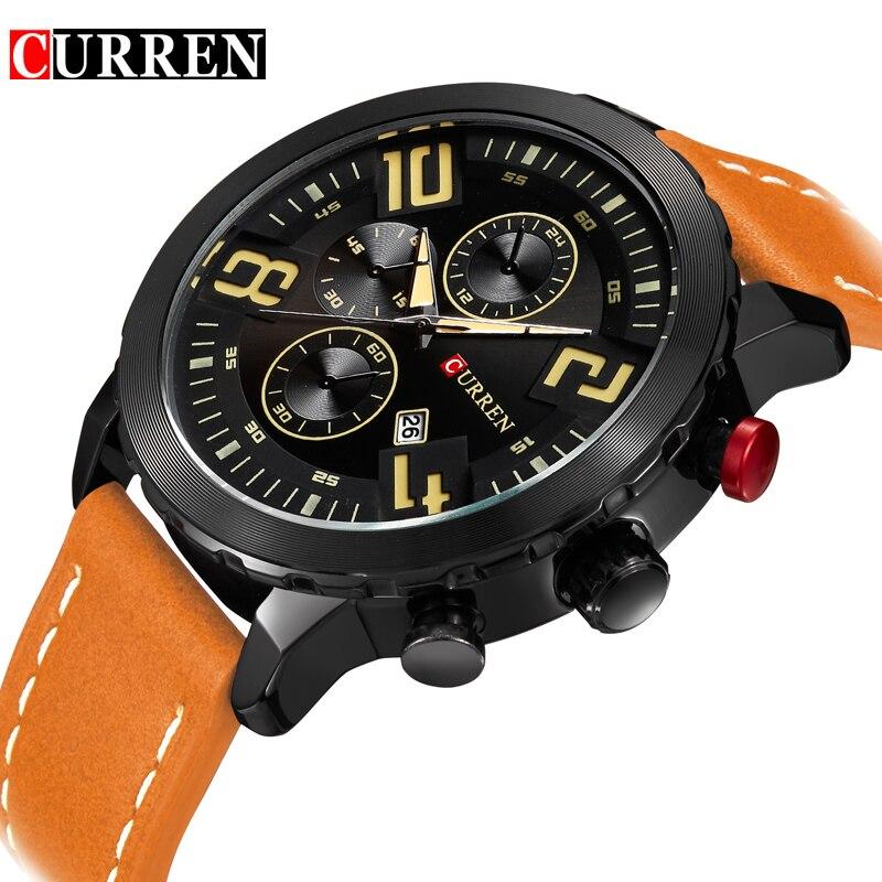 Curren Watches Men Top Brand Luxury Cow Leather Strap Quartz-Watches Sport Men's Watches Waterproof Relogio Heren Hodinky 8193