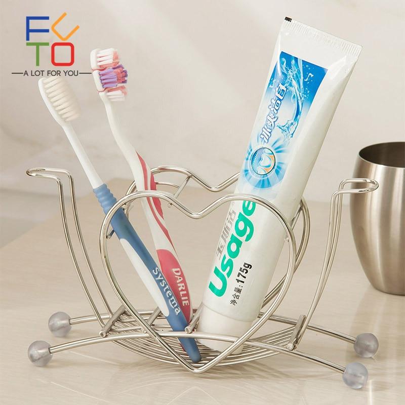 Stainless Steel Toothbrush Holder Toothpaste Stand Holder Bathroom Accessories Home Storage Rack Organizer Shelf