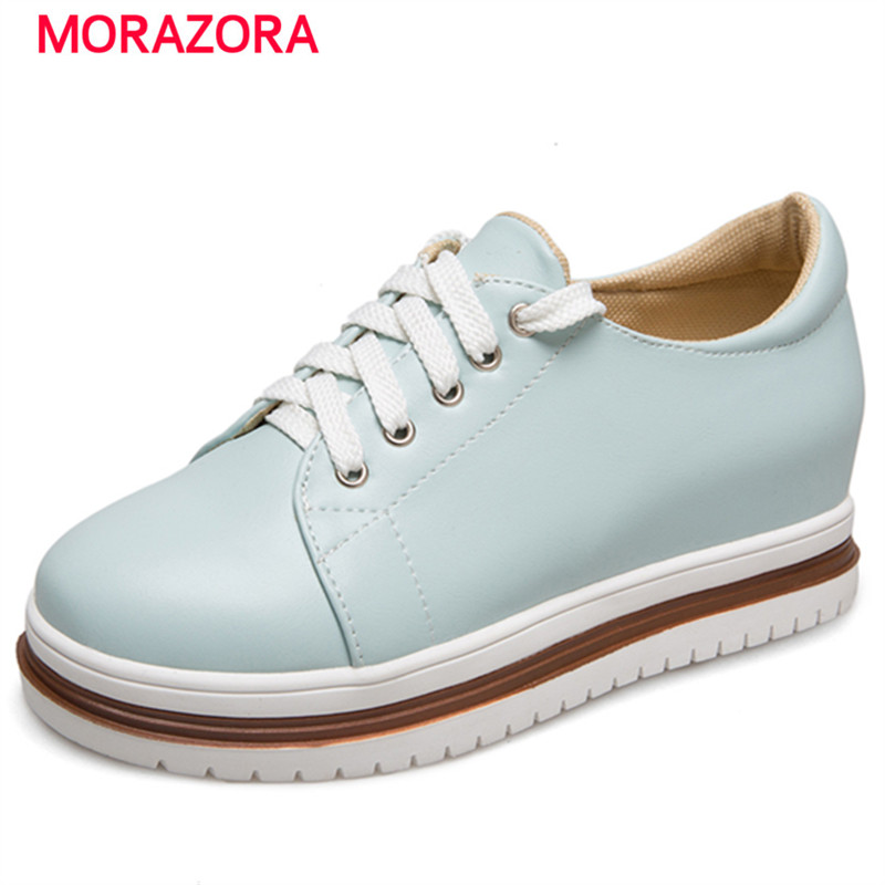 MORAZORA College style high heel platform shoes height increasing women shoes lace-up fashion  round toe solid PU free shipping new arrival white height increasing women s high heel platform canvas shoes women solid color