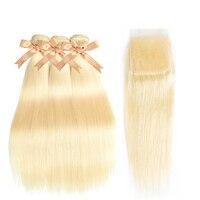 Sparkle Diva 613 Blonde Hair Bundles With Lace Closure Brazilian Straight Hair 3 Bundles With 4