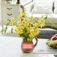 צהוב פרח רוקד-סט-דקורטיבי זר פרחי סחלבים גברת משי סחלבים פרחי מסיבת חתונת בית משלוח חינם
