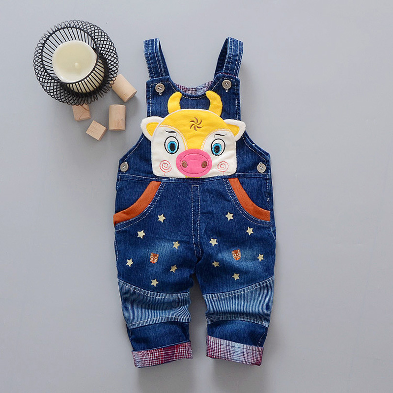 Baby Boys Girls Infants Kids Children Denim Jeans Cartoon Cow Star Long Pants Casual Trousers Overalls Rompers Pantalones S5468