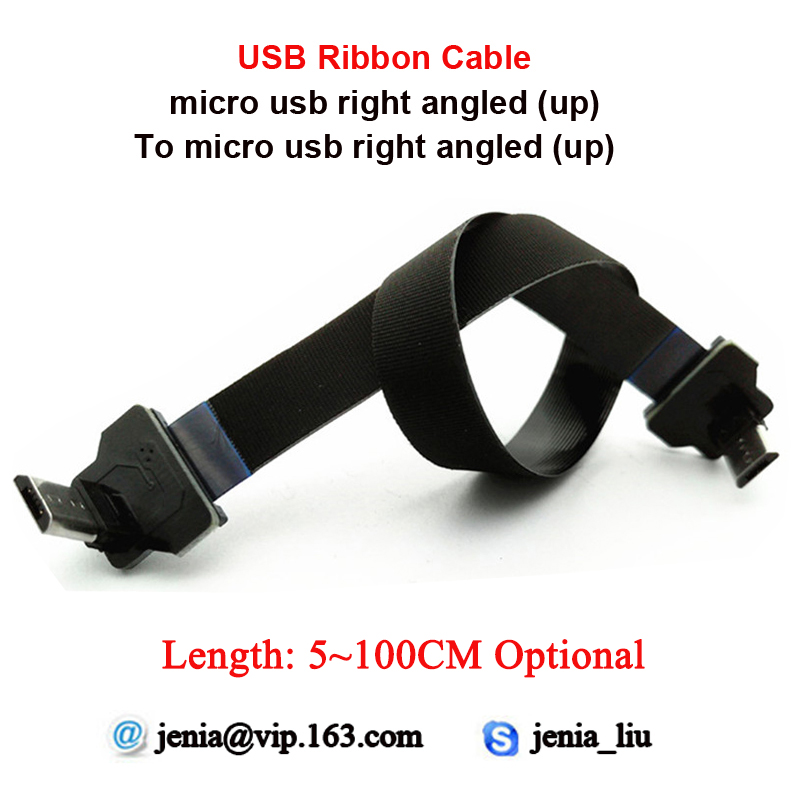 5-100CM Flexible Metal USB Data Cable Micro Up Angled Male To Micro Up Angled Ffc Ultra Thin Cable