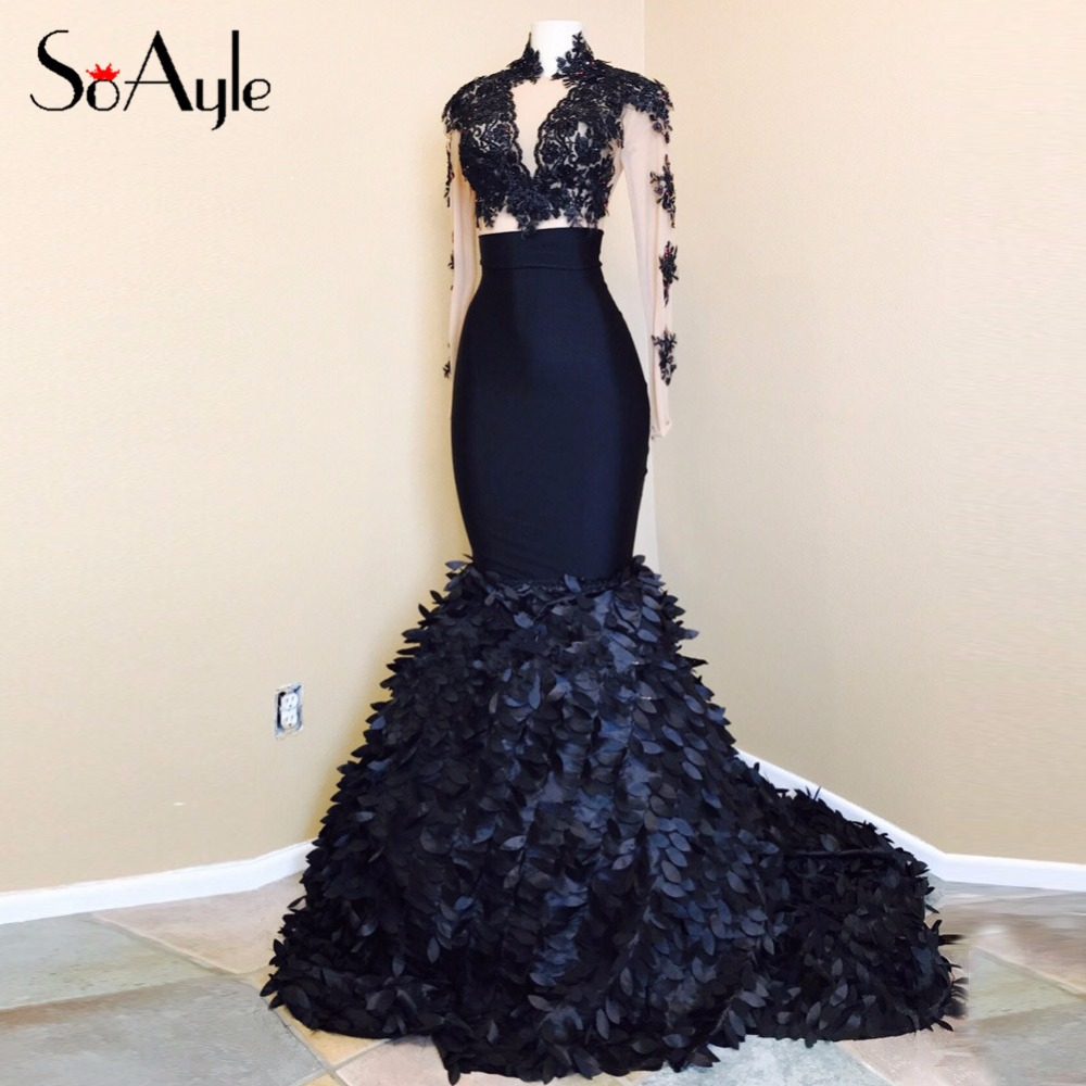SoAyle Mermaid High Neck Long Sleeves Black 3D leaves Illusion Evening  Dresses Tulle Sexy Vestidos De Festa Lace Prom Dresses-in Evening Dresses  from ... 3c32a4157a28