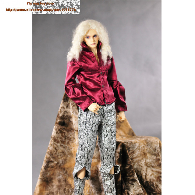 Fashion Pant Red T shirt for 1/3  BJD doll fit 72-75 cm male doll baroque style Trousers pants with holes  for sd bjd clothes