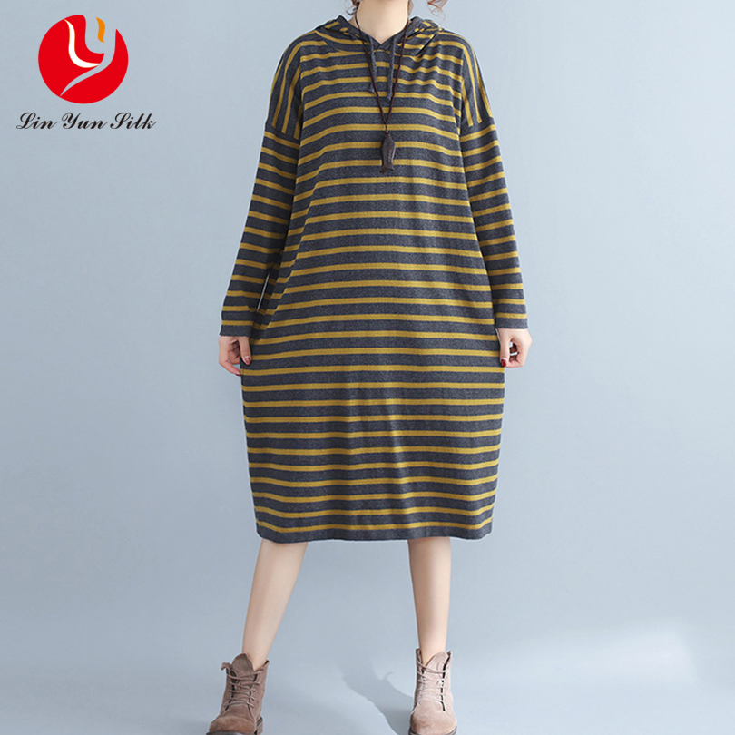 Ladies Oversized Loose Dress New Autumn and Winter Ladies Knitted Vestidos Clothes Stripe Hooded Dresses Plus Size women autumn and winter new ladies genuine