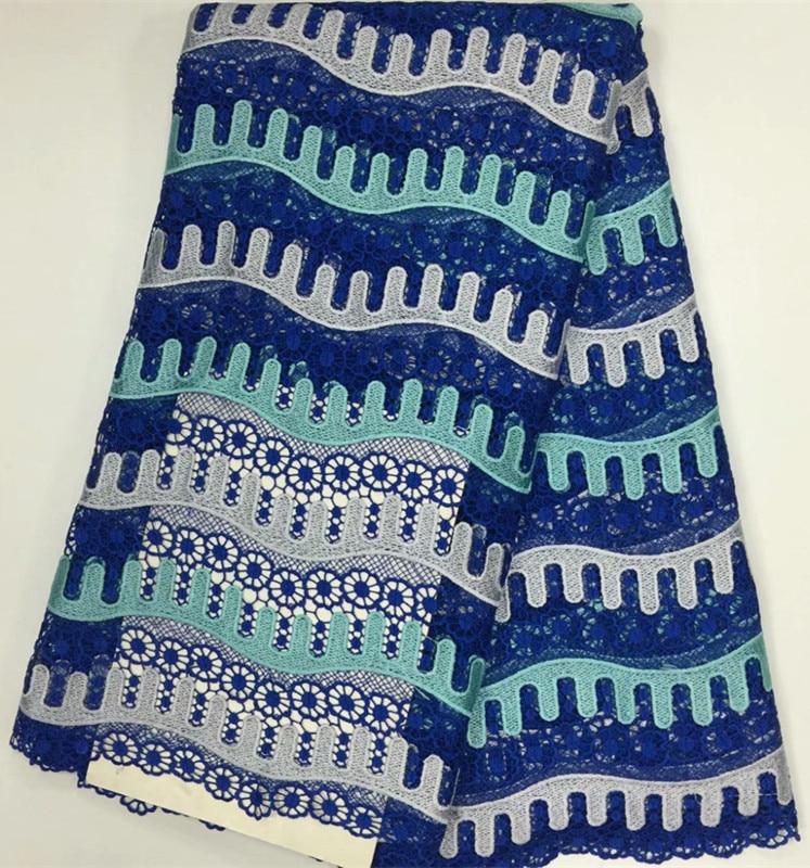 (5yards/pcs)Royal blue&aqua striped guipure lace wedding dress sewing african long guipure lace gown Apr-17-2017