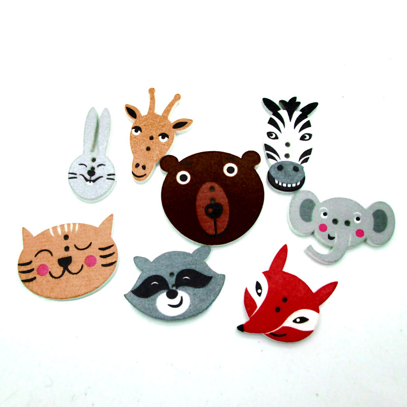 50pcs Mixed Animal Sewing Wooden Buttons For Clothes Knitting Needles Crafts Scrapbooking DIY Fabric Needlework Accessories