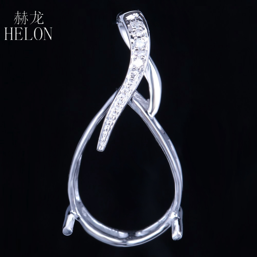 HELON Oval Cut 12x16mm Solid 14k White Gold Semi-Mount Pave Natural Diamonds Pendant Exquisite For Women's Fine Jewelry Pendant vintage oval 7x9mm solid 18kt white gold diamond semi mount pendant wholesale fine jewelry for girl wp025