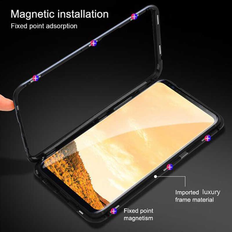 Caixa Do Telefone Do Telefone Móvel Magnético de Vidro temperado Limpar Back Tampa Da Caixa Para para samsung s8 s9 S10/iphone x xs xr/Redmi nota 7